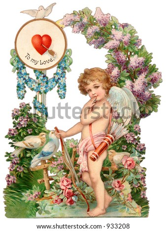 A vintage Valentine illustration of a cupid (circa 1890) - stock photo