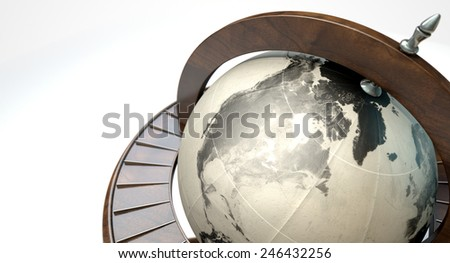 A vintage wooden world globe ornament on an isolated white background - stock photo
