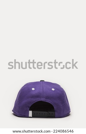 A violet cap back side view isolated white background. - stock photo