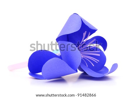A violet orchid bloom in origami - stock photo
