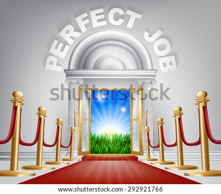 A VIP perfect job door opening to reveal a sunrise and beautiful green landscape. Perhaps a concept for hope for the future. - stock photo