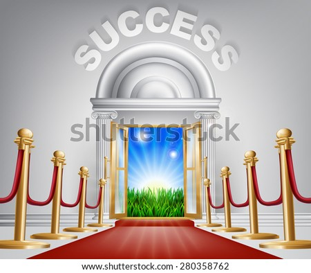 A VIP success door opening to reveal a sunrise and beautiful green landscape. Perhaps a concept for hope for the future. - stock photo