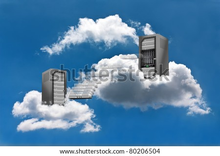 A Virtual Machine moves from a cloud Server Rack to the other - stock photo
