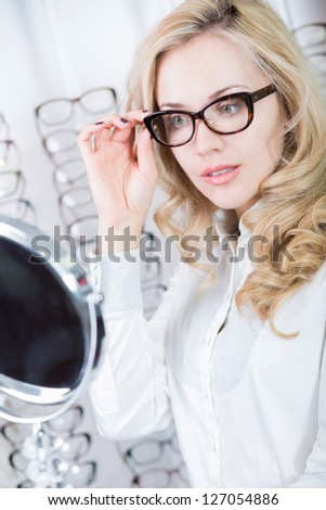 A visit to an optician - stock photo