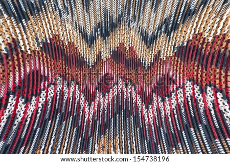 A vivid collection of geometric patterns on this material that has a ribbed texture. - stock photo