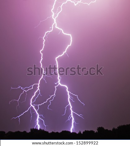 A vivid flash of lightning - stock photo
