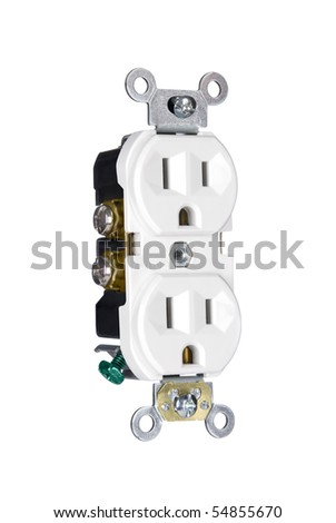 A 110 volt three pin electrical power outlet isolated on white - stock photo