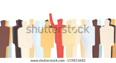 A volunteer with his hand raised up - stock photo