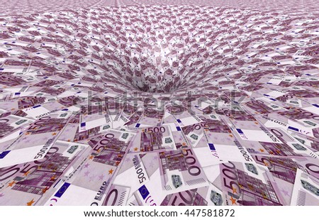 a vortex made of 500,- euro banknotes, 3d illustration - stock photo