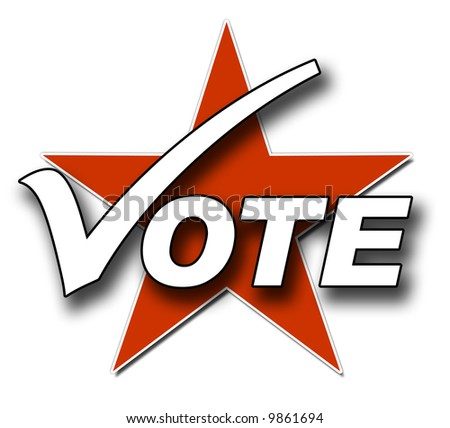 A Voting illustration in Red and white - stock photo