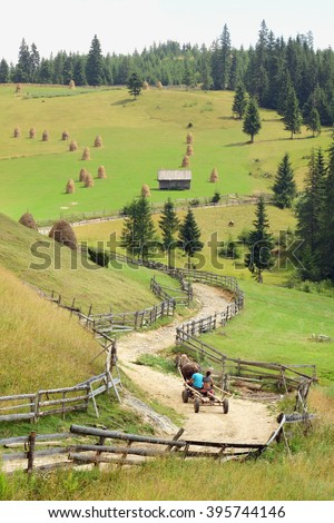 a wagon pulled by a horse it's going up a winding dirt road on the Apuseni Mountains, Romania - stock photo
