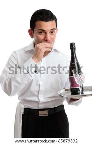 A waiter, servant or bartender with wine.   Alla Salute!  White background. - stock photo