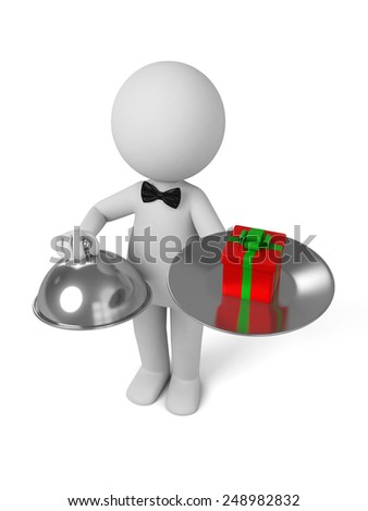 A waiter with food platter and a gift in it. 3d image. Isolated white background.