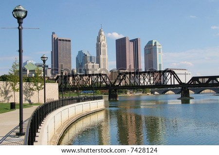 A Walk Along the River, Downtown Columbus - stock photo