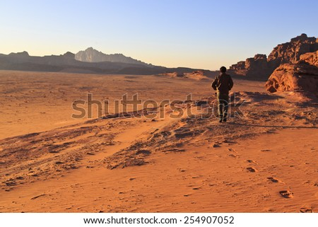 A walking path in Wadi Rum - stock photo