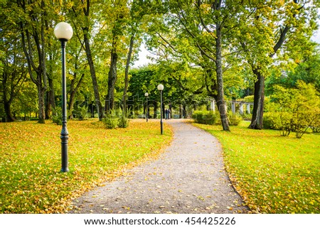 A walkway at Kadrioru Park, in Tallinn, Estonia. - stock photo