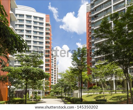 A walkway leading to new resident Estate. - stock photo
