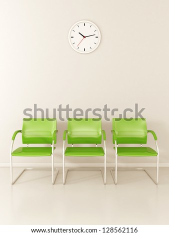 A wall clock and 3 green chairs in the waiting room