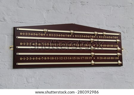 A Wall Mounted Wooden Snooker Score Board. - stock photo