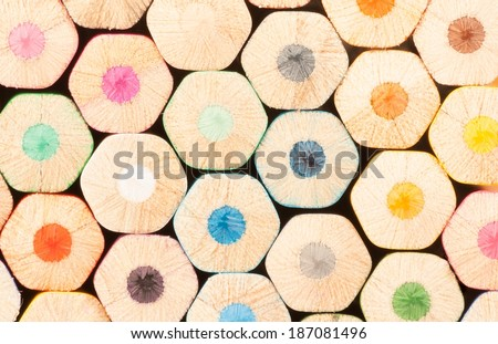 a wall of colorful pencils, texture and background - stock photo