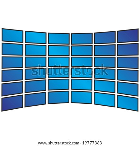 A wall of tv sets displayed with copyspace for your own images. - stock photo
