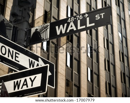 A Wall Street sign in Manhattan New York. - stock photo