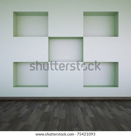 A wall with empty shelves - stock photo