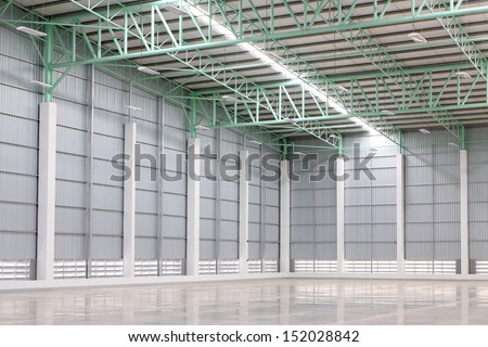 A warehouse is a commercial building for storage of goods. Warehouses are used by manufacturers, importers, exporters, wholesalers, transport businesses, customs, etc. - stock photo