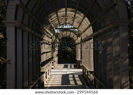 A warm and inviting garden pathway through an arched trellis full of vines and ending in a black iron gate. Great for gardening, advertisements, magazines, or many other applications. - stock photo
