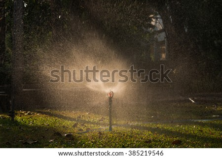 A water sprinkler in a garden