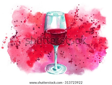 A watercolor drawing of a glass of red wine with a bright banner with a place for text, a template for a wine list, tasting invitation or menu design - stock photo