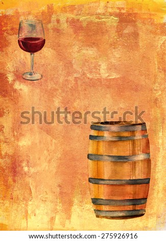 A watercolor drawing of a wine barrel and a glass of red wine on a golden artistic background with a place for text