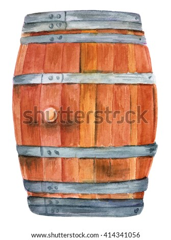 A watercolor drawing of an old oak wood wine barrel, hand painted on white background