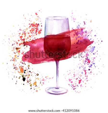 A watercolor illustration with a glass of red wine in a circle of splashed paint of various colors, a festive design - stock photo