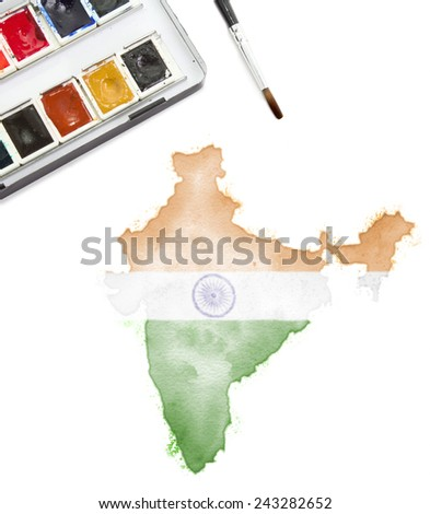 A watercolor painting of India in the national colors.(series) - stock photo