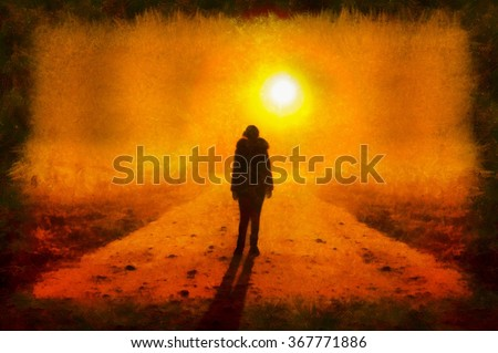 A watercolor painting of silhouette of a girl stay on night road in light of lantern. Film noir scene. - stock photo