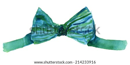A watercolour drawing of a colourful bow tie on a white background