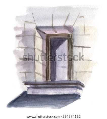 A watercolour drawing of a sunny window in a building - stock photo