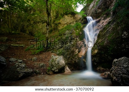 A waterfall falling into a natural pool with rocks moss and and green leaves - stock photo