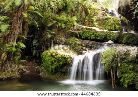 A waterfall in a rainforest at national park. Madagascar