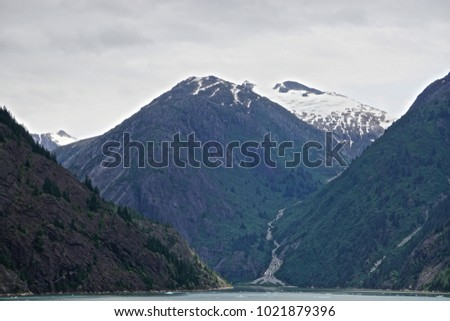 A waterfall in Endicott Arm, Alaska, on the approach to the Dawes glacier.