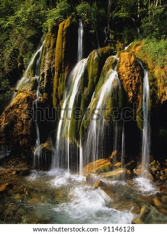 A waterfall in the pyrenees, france - stock photo