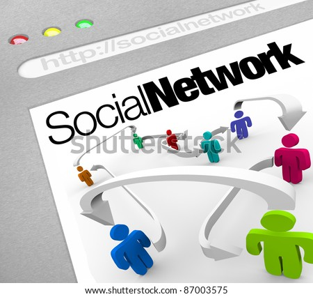 A web browser window shows a social network of people connected by arrows represented on a web screen illustrating a networking site on the internet - stock photo