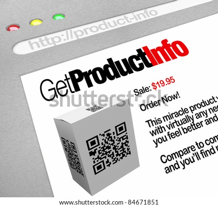 A web browser window shows the Get Product Info, a QR barcode on a box that has been scanned by a smart phone or other mobile device by a customer - stock photo