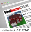 A web browser window shows the words Find Homes Online and a picture of a house - stock photo