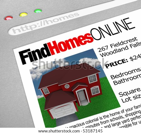 A web browser window shows the words Find Homes Online and a picture of a house