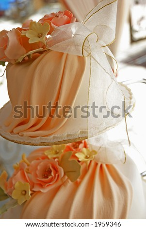 A wedding cake in orange color - stock photo