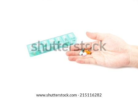 A weekly dosage of medication in pill dispenser