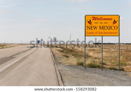 A welcome sign at the New Mexico state line. - stock photo