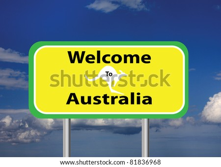 a welcome sign with a sky background - stock photo